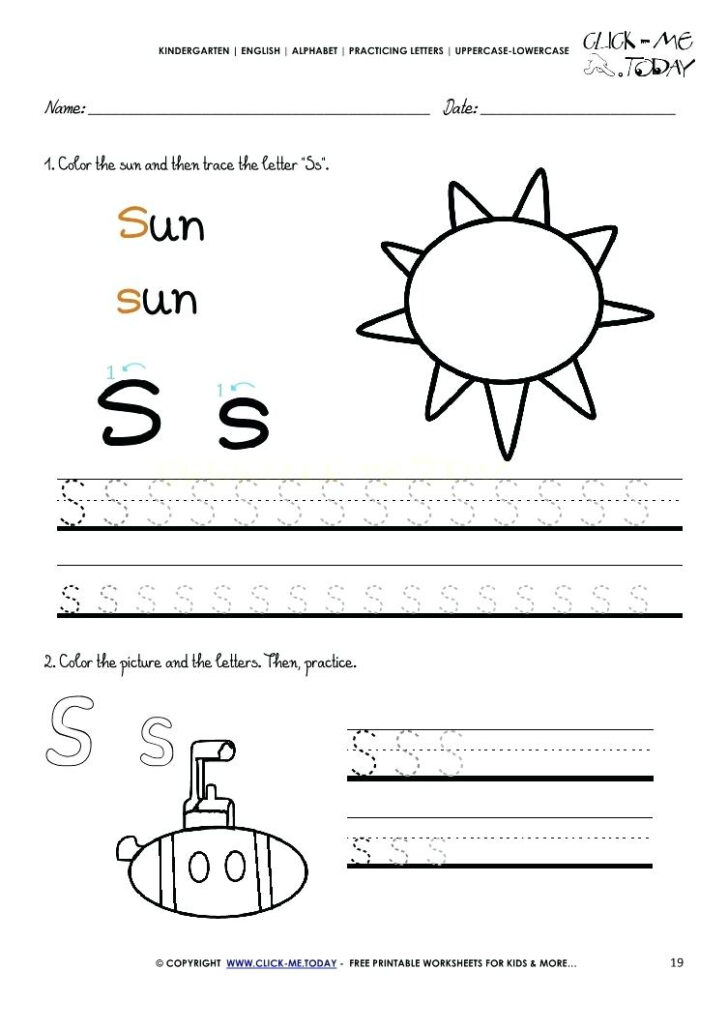 Letter S Worksheets For Toddlers