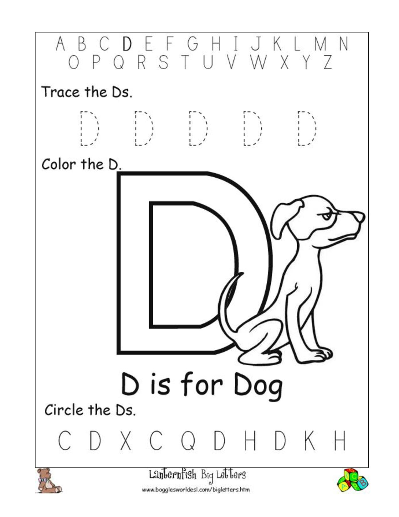 5 Letter D Worksheets Alphabet Phonics Worksheets for Letter D Worksheets For Pre K
