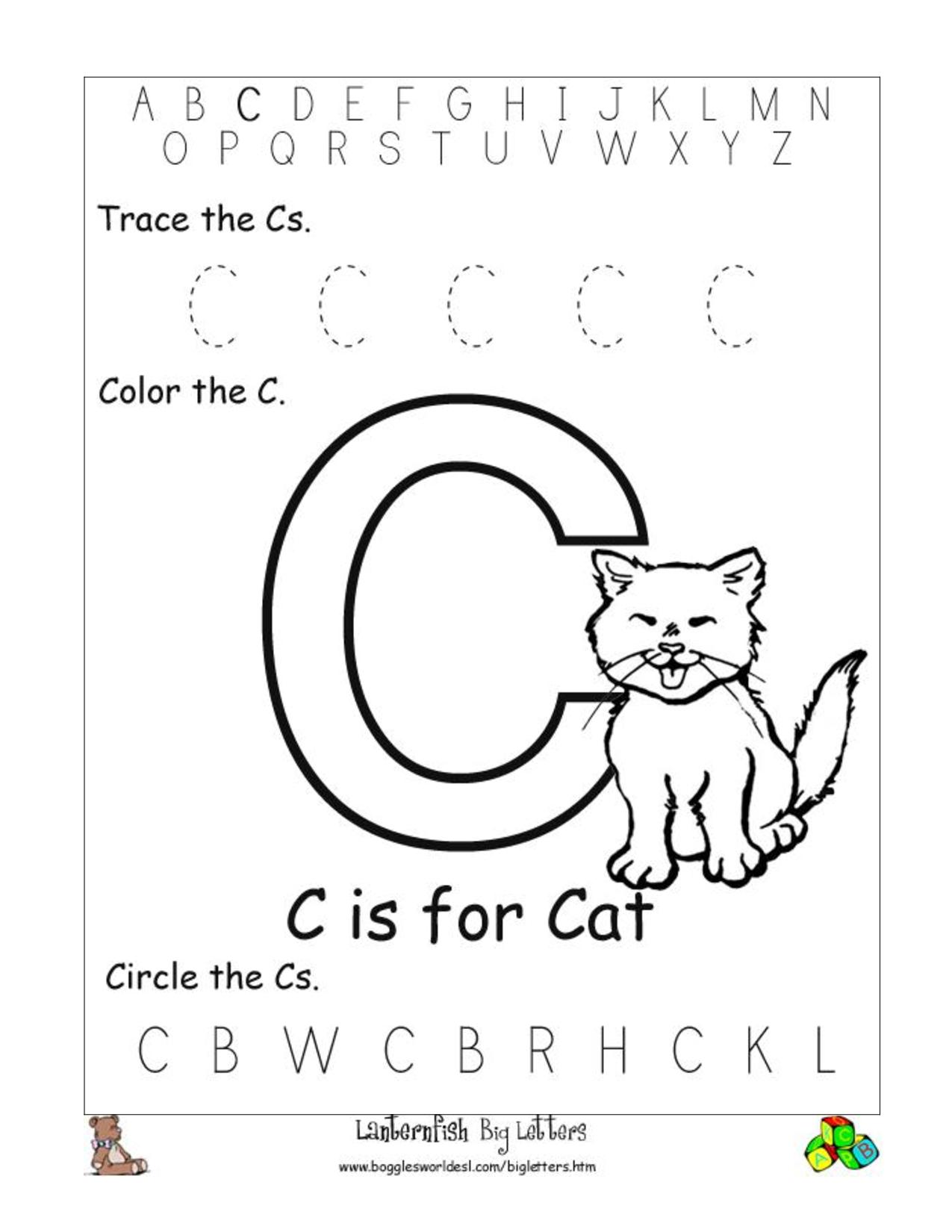 6 Best Images Of Free Printable Preschool Worksheets Letter in Letter C Worksheets For Nursery