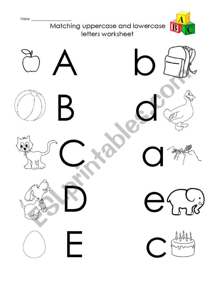 A To E Uppercase And Lowercase Letters Matching   Esl Intended For Letter E Worksheets Lowercase