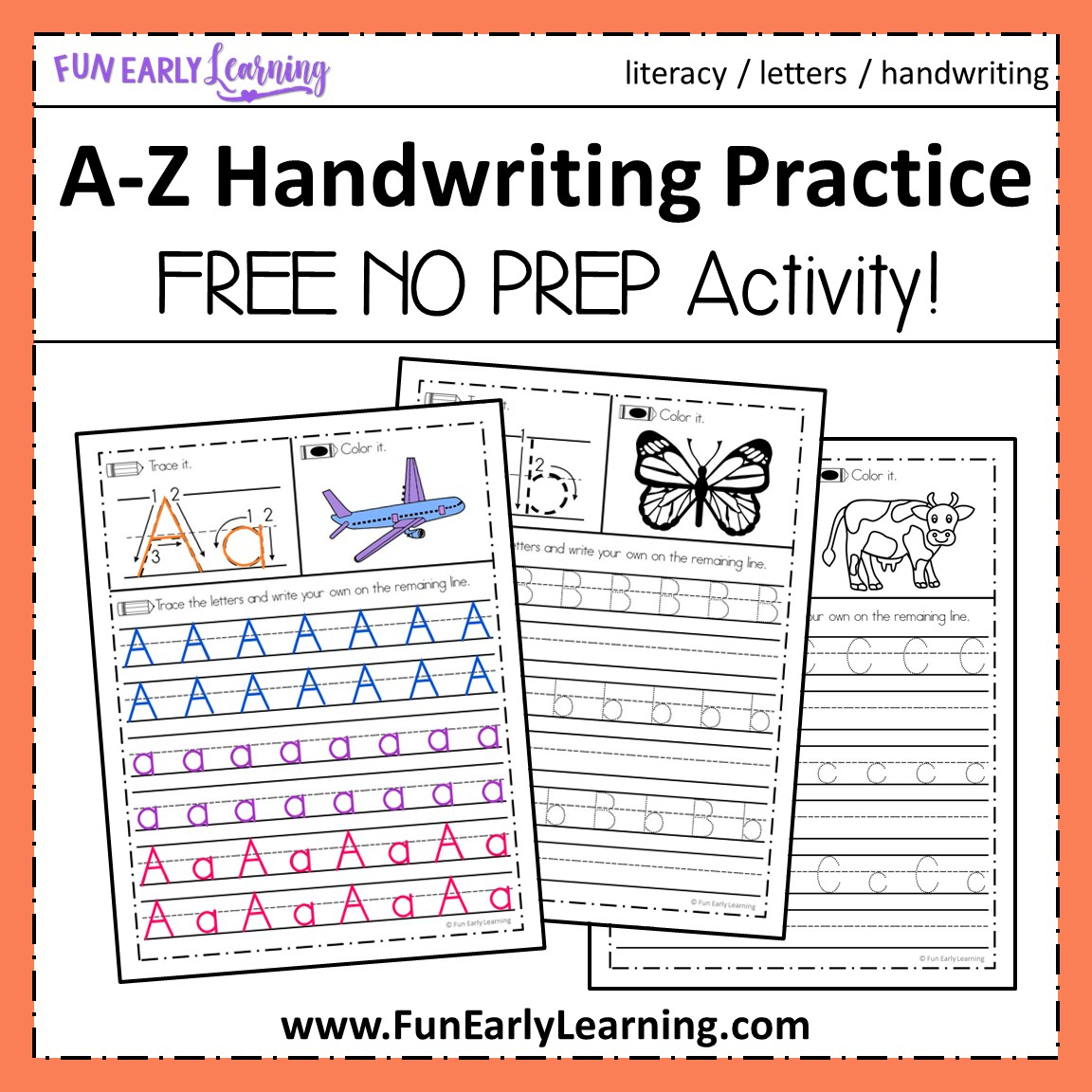 A-Z Handwriting Practice No Prep Worksheets For Learning Letters throughout Alphabet Handwriting Worksheets A To Z Free Printables