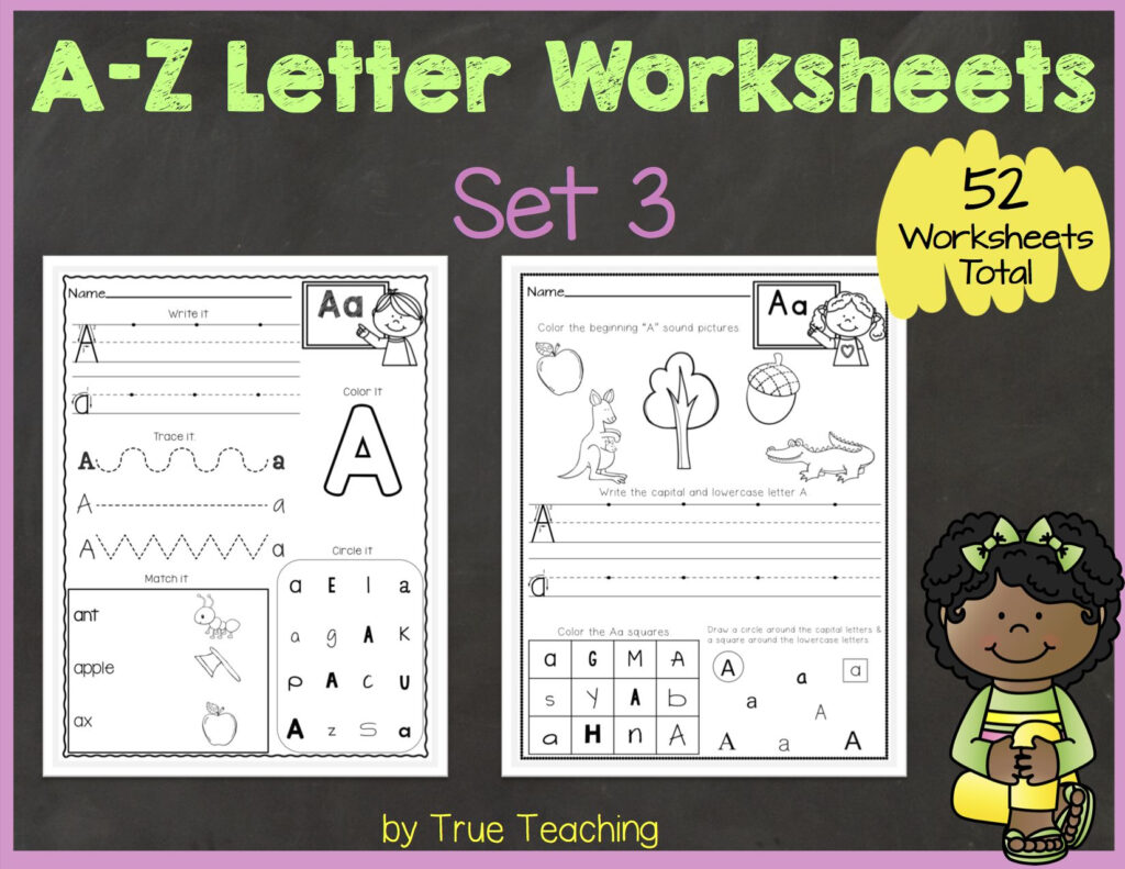 A Z Letter Worksheets (Set 3) | Tpt Products | Letter Throughout A Z Alphabet Worksheets Kindergarten