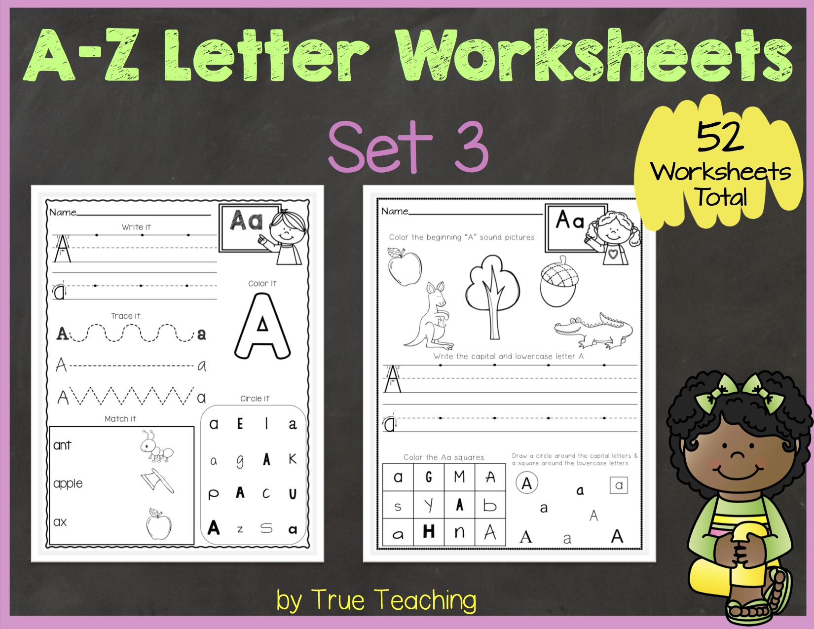 A-Z Letter Worksheets (Set 3) | Tpt Products | Letter throughout A-Z Alphabet Worksheets Kindergarten