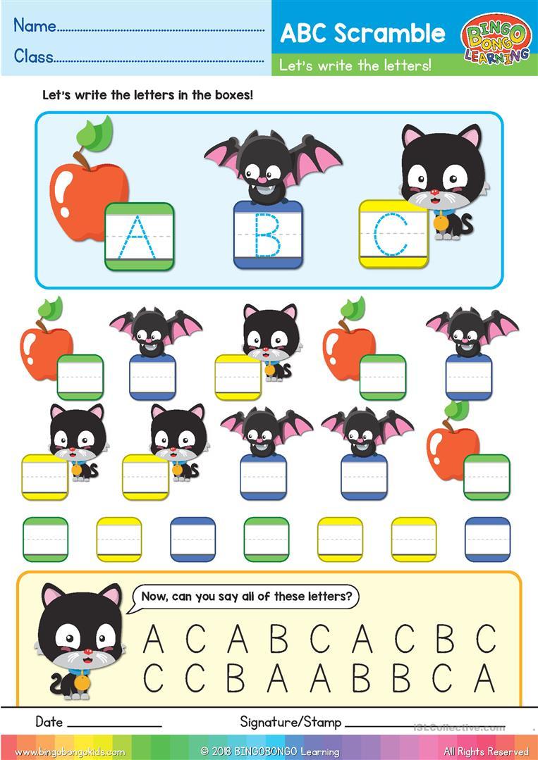 Abc Phonics Scramble - Uppercase Abc - Bingobongo Learning pertaining to Alphabet Jumble Worksheets