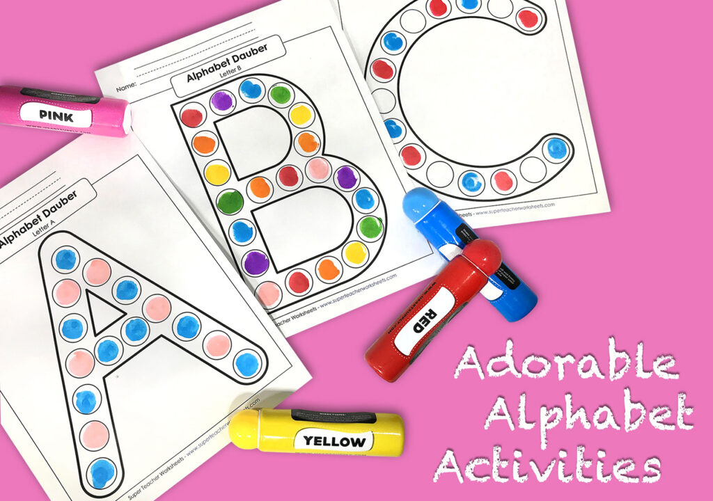 Adorable Alphabet Activities   Super Teacher Worksheets Pertaining To Alphabet Dauber Worksheets