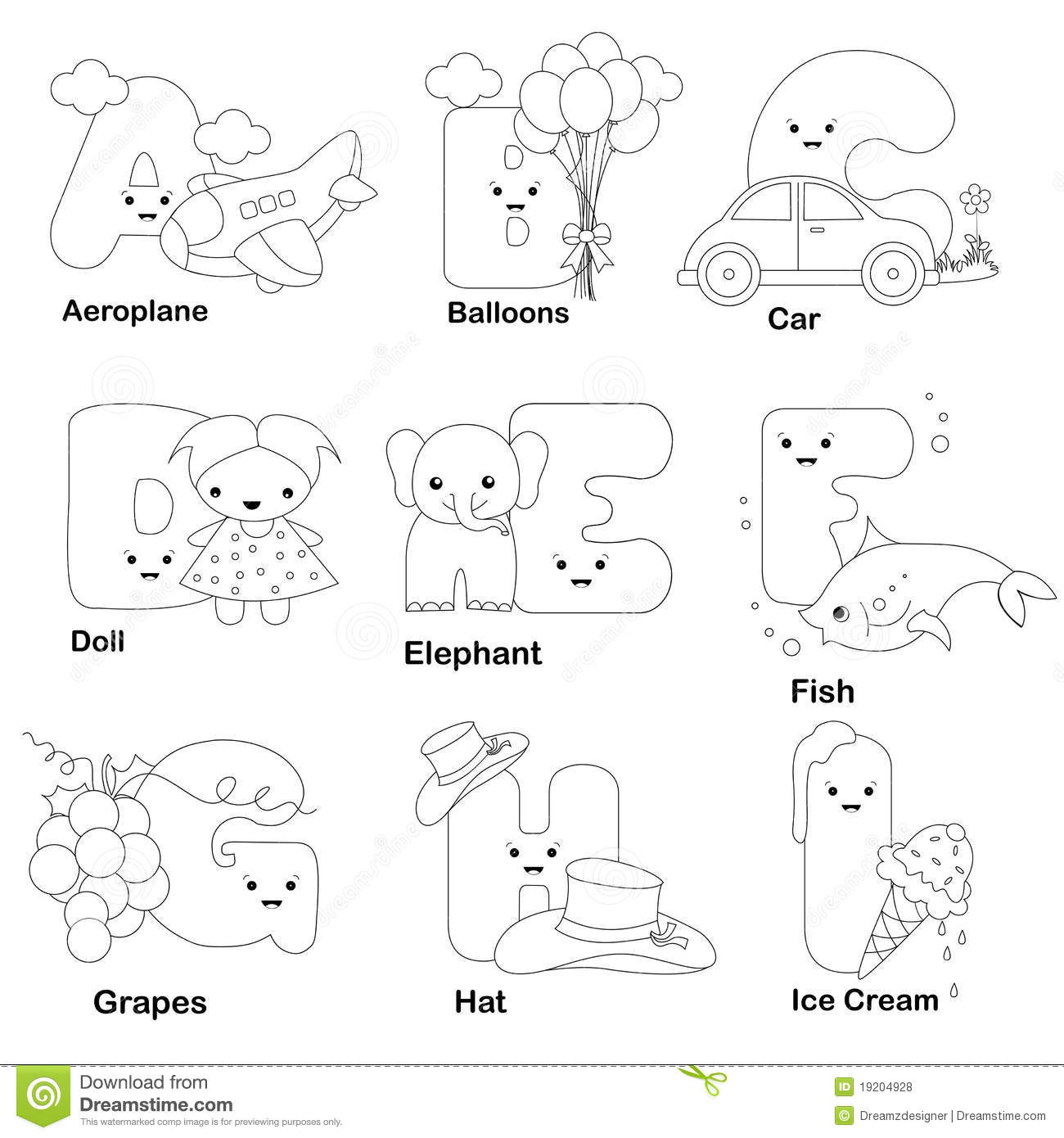 Alphabet Coloring Page Stock Vector. Illustration Of Child with Alphabet Colouring Worksheets For Kindergarten