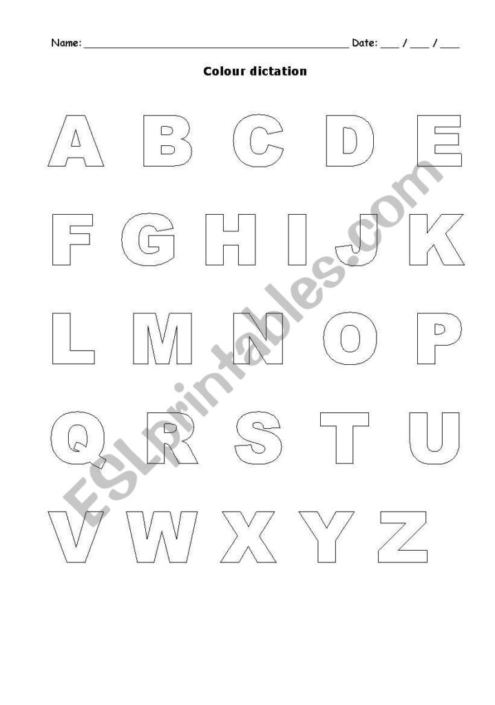 Alphabet Colour Dictation   Esl Worksheetmariaalb In Alphabet Dictation Worksheets