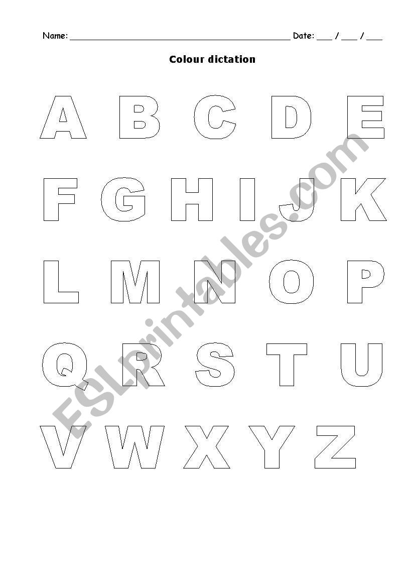 Alphabet Colour Dictation - Esl Worksheetmariaalb in Alphabet Dictation Worksheets