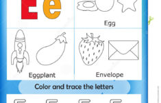 Alphabet Learning And Color Letter E Stock Illustration with regard to Letter E Worksheets Free
