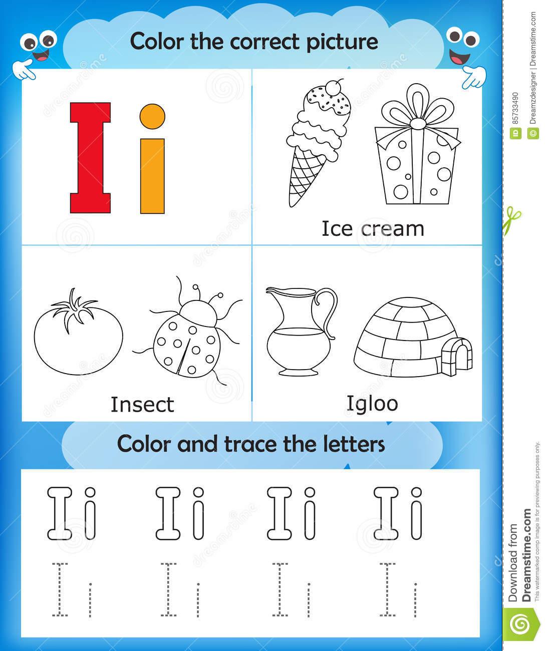 Alphabet Learning And Color Letter I Stock Illustration with regard to Letter Ii Worksheets For Kindergarten