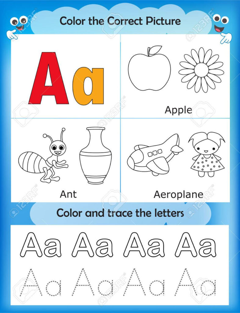 Alphabet Learning Letters & Coloring Graphics Printable Worksheet.. In Alphabet Beginners Worksheets