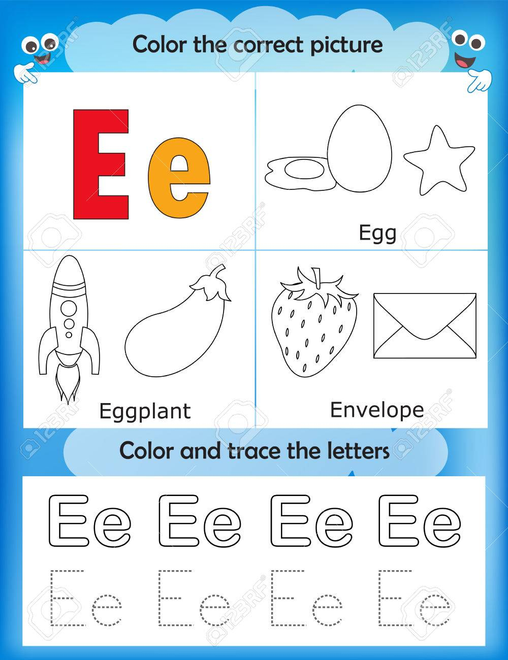Alphabet Learning Letters & Coloring Graphics Printable Worksheet.. throughout Letter E Worksheets For Preschool
