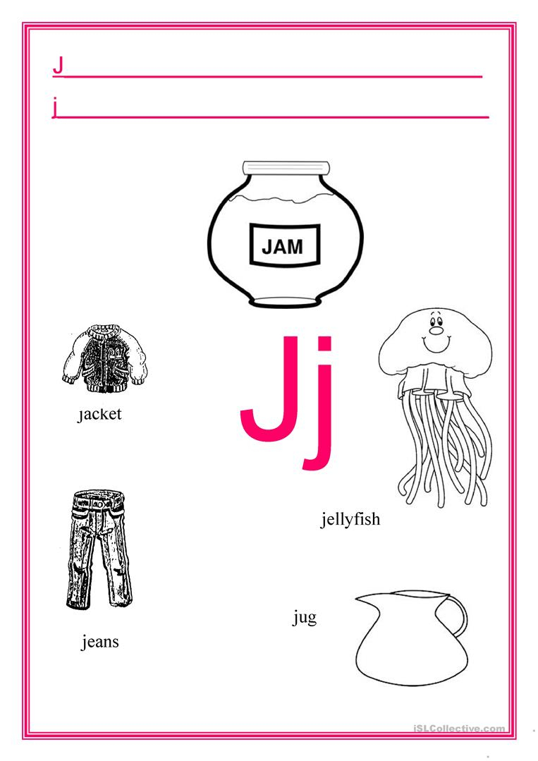 Alphabet Letter J - English Esl Worksheets within Alphabet J Worksheets