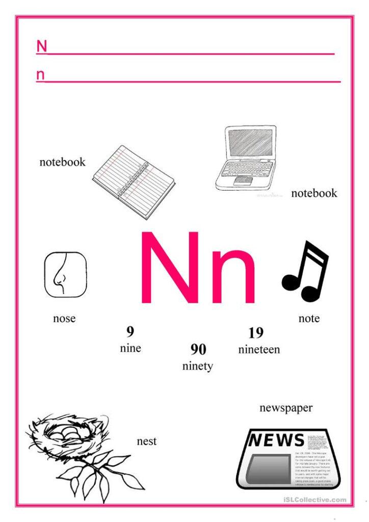 Alphabet Letter N   English Esl Worksheets With Letter Nn Worksheets