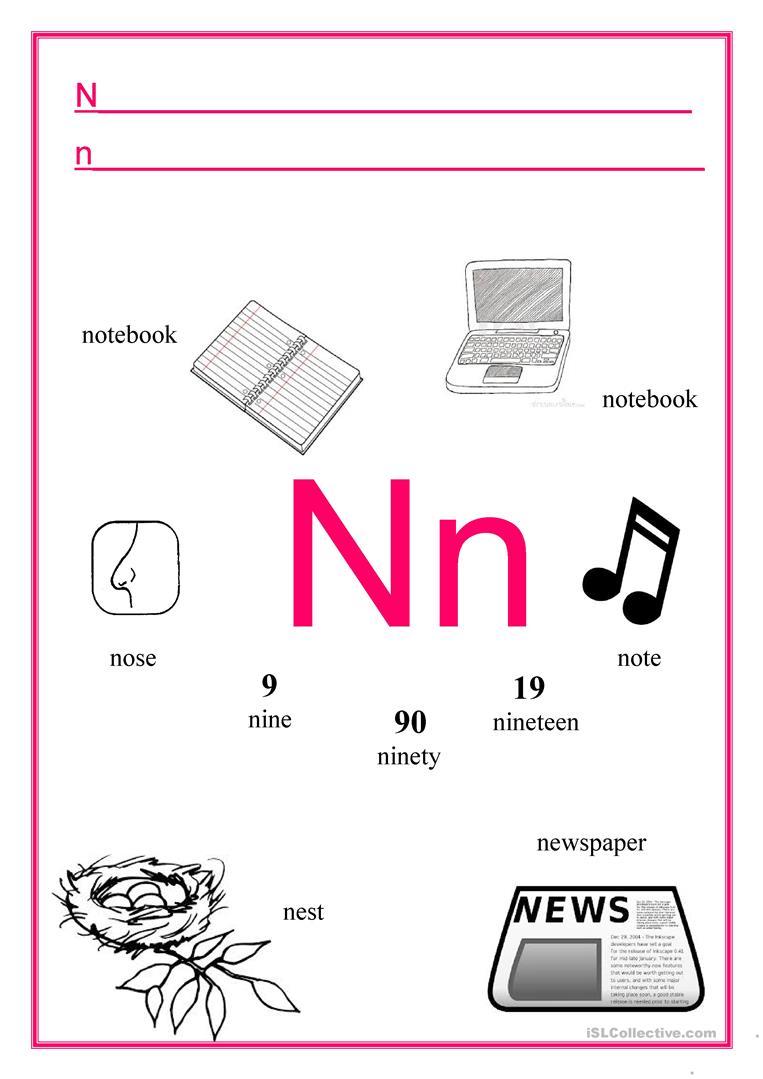 Alphabet Letter N - English Esl Worksheets with Letter Nn Worksheets