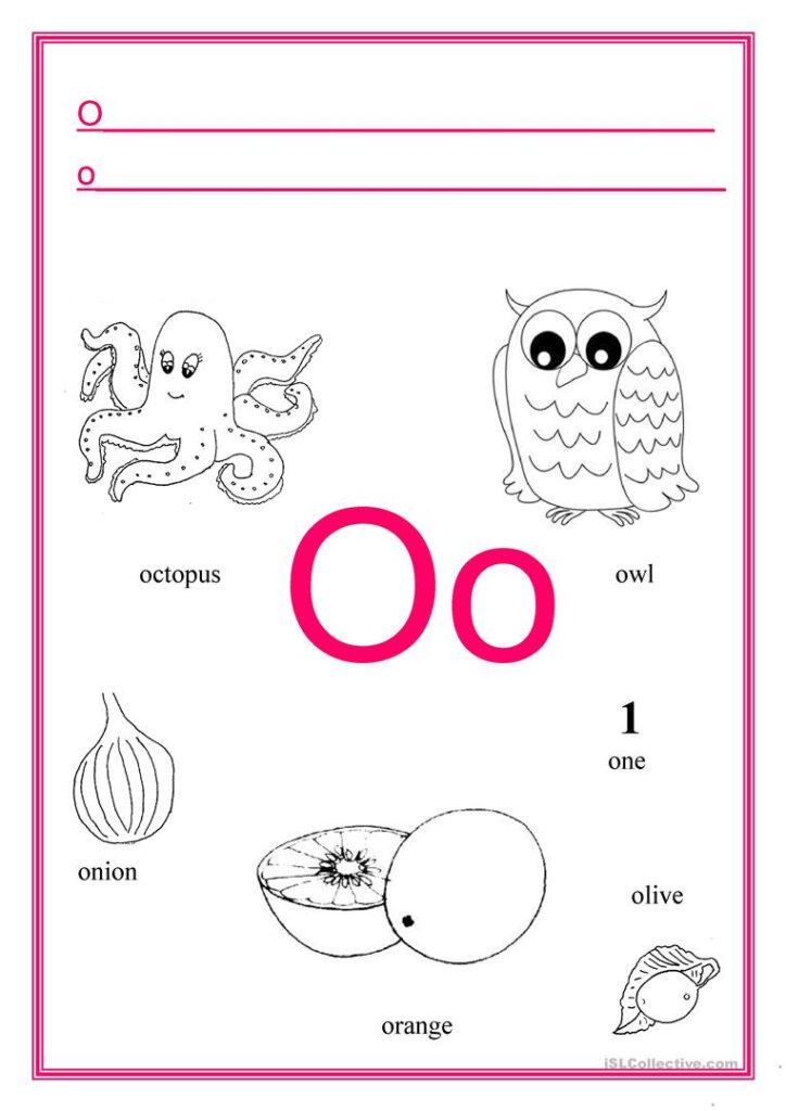 Alphabet Letter O   English Esl Worksheets With Regard To Letter O Worksheets For Kindergarten