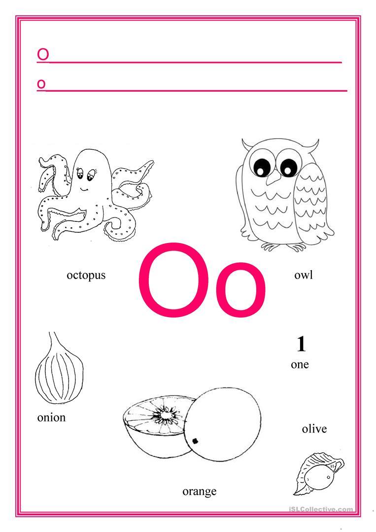Alphabet Letter O - English Esl Worksheets with regard to Letter O Worksheets For Kindergarten