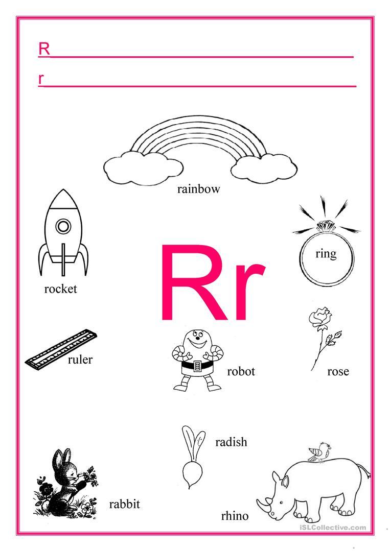 Alphabet Letter R - English Esl Worksheets with R Letter Worksheets