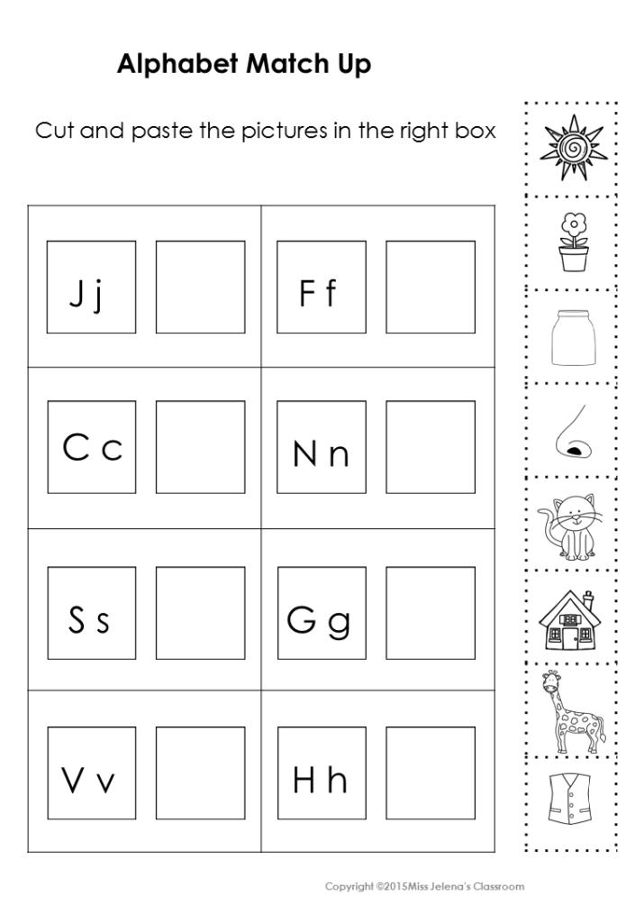Alphabet Matching Set | Kindergarten Learning | Cut, Paste Inside Alphabet Match Up Worksheets