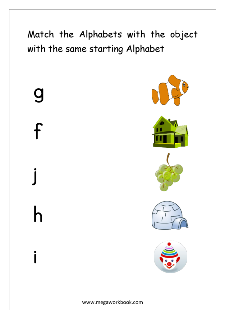 Alphabet Matching Worksheets   Match Object With The Regarding Alphabet Match Up Worksheets