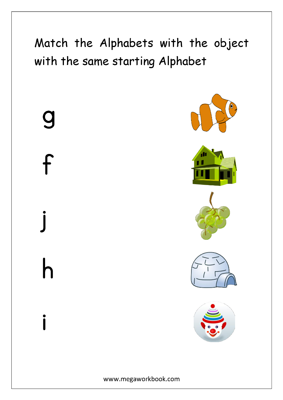 Alphabet Matching Worksheets - Match Object With The regarding Alphabet Match Up Worksheets
