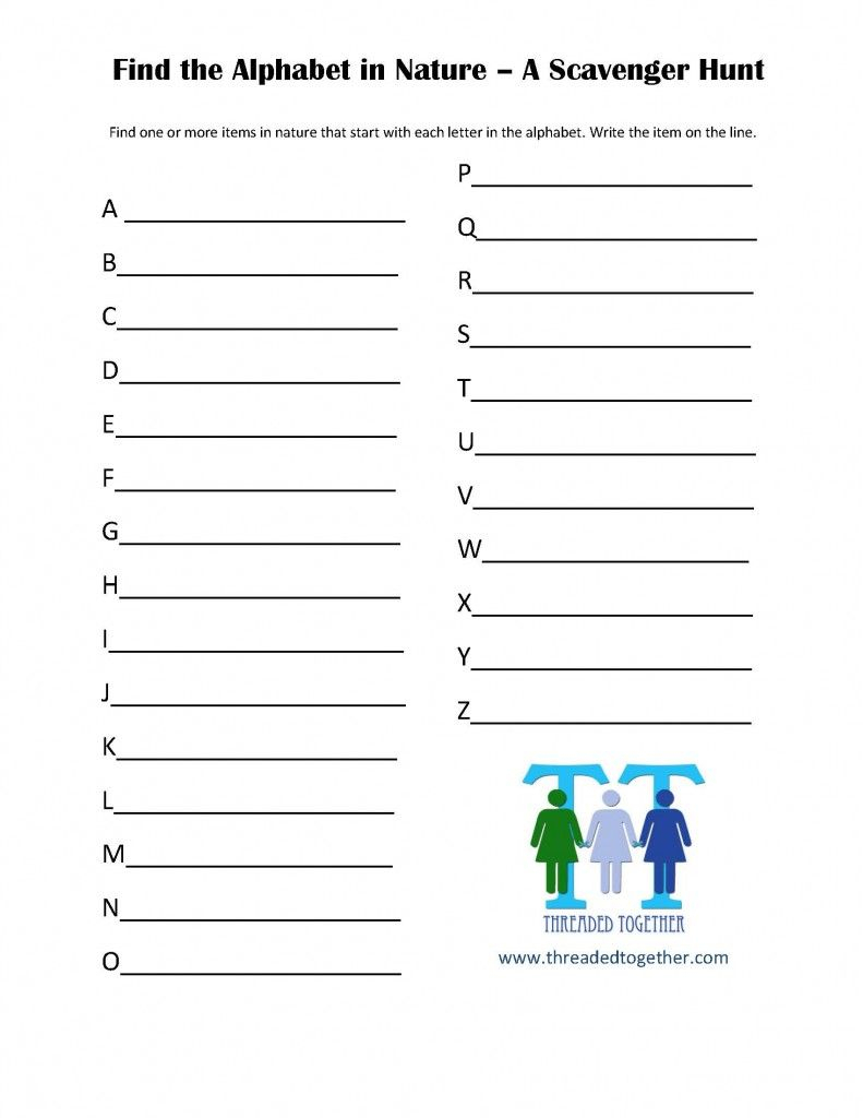 Alphabet Nature Scavenger Hunt Printable - Threaded Together within Alphabet Hunt Worksheets