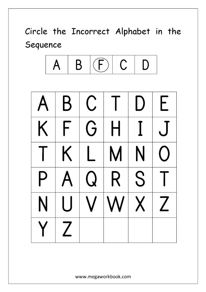 Alphabet Ordering Worksheet   Capital Letters   Circle Inside Alphabet Order Worksheets For Kindergarten