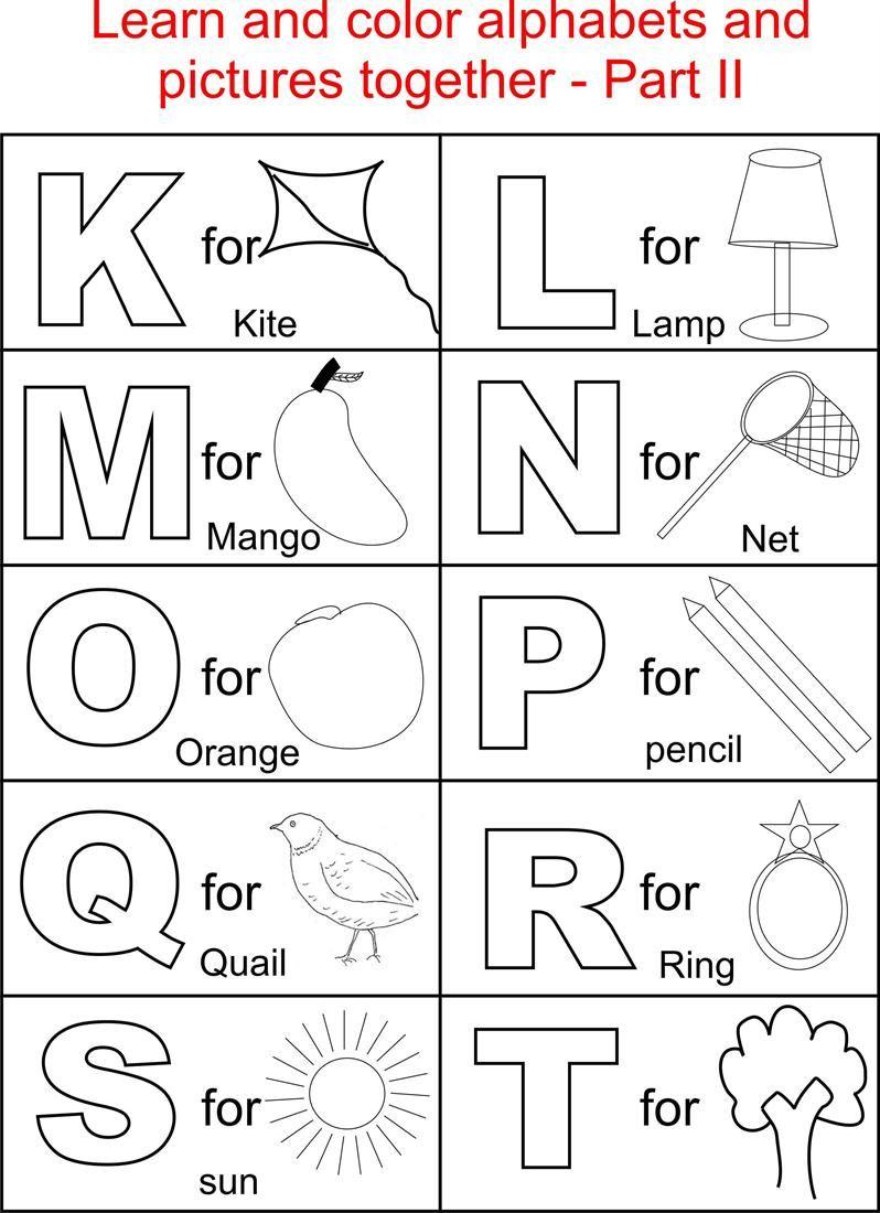 Alphabet Part Ii Coloring Printable Page For Kids: Alphabets inside Alphabet Colouring Worksheets