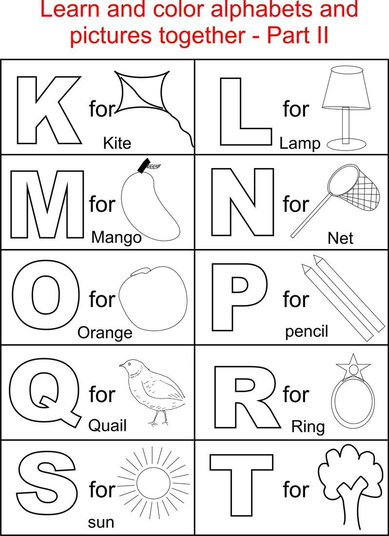 Alphabet Part Ii Coloring Printable Page For Kids: Alphabets with Alphabet Colouring Worksheets For Kindergarten