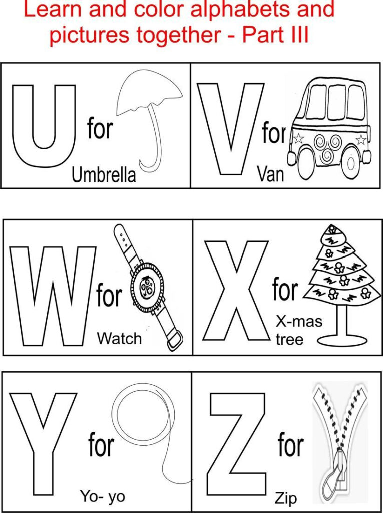 Alphabet Part Iii Coloring Printable Page For Kids Inside Alphabet Colouring Worksheets For Kindergarten