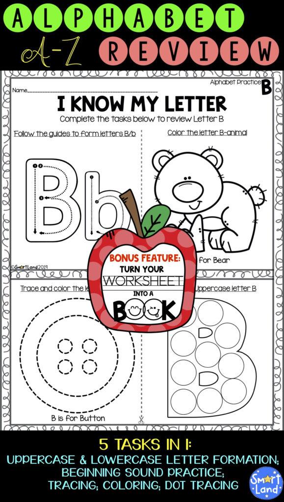 Alphabet Practice 2In1 Review+Book | Alphabet Worksheets Intended For Alphabet Review Worksheets For Pre K