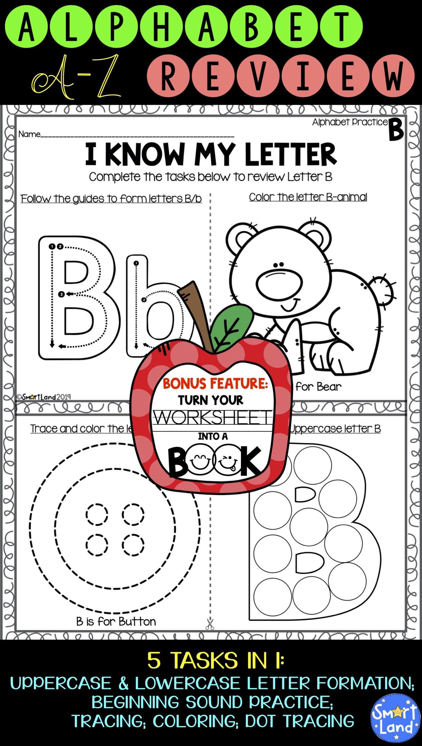 Alphabet Practice_2In1_Review+Book | Alphabet Worksheets intended for Alphabet Review Worksheets For Pre-K