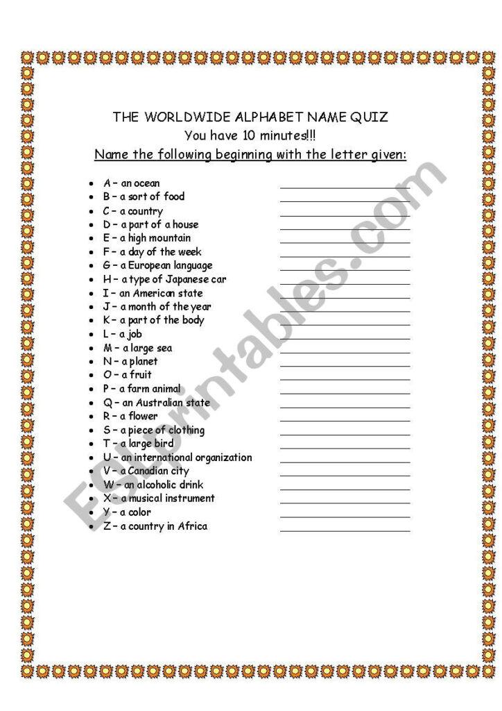 Alphabet Quiz   Esl Worksheetdavid.alikaee Regarding Alphabet Quiz Worksheets