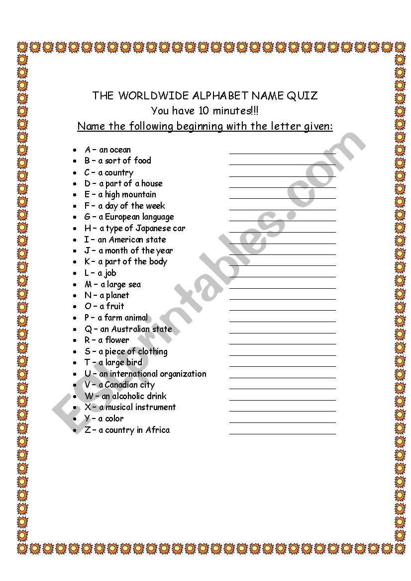 Alphabet Quiz - Esl Worksheetdavid.alikaee regarding Alphabet Quiz Worksheets