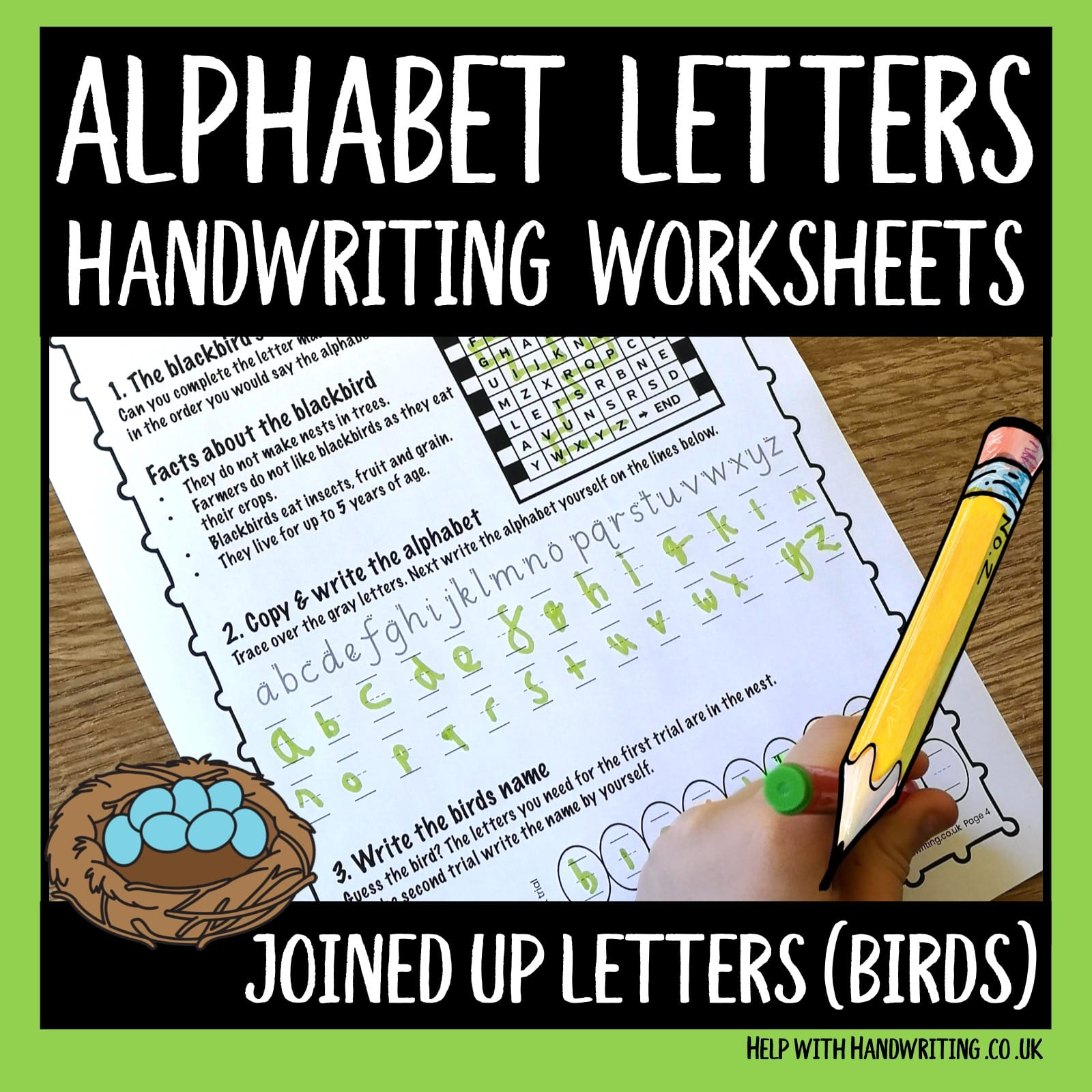 Alphabet Sequence - Write And Say (Spring Birds) - Help With intended for Alphabet Handwriting Worksheets Uk