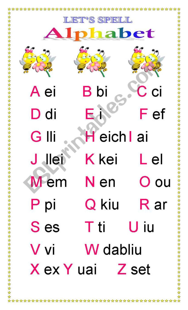 "Alphabet ""spelling Bee""   Esl Worksheeteileen Rivera For Alphabet Spelling Worksheets"