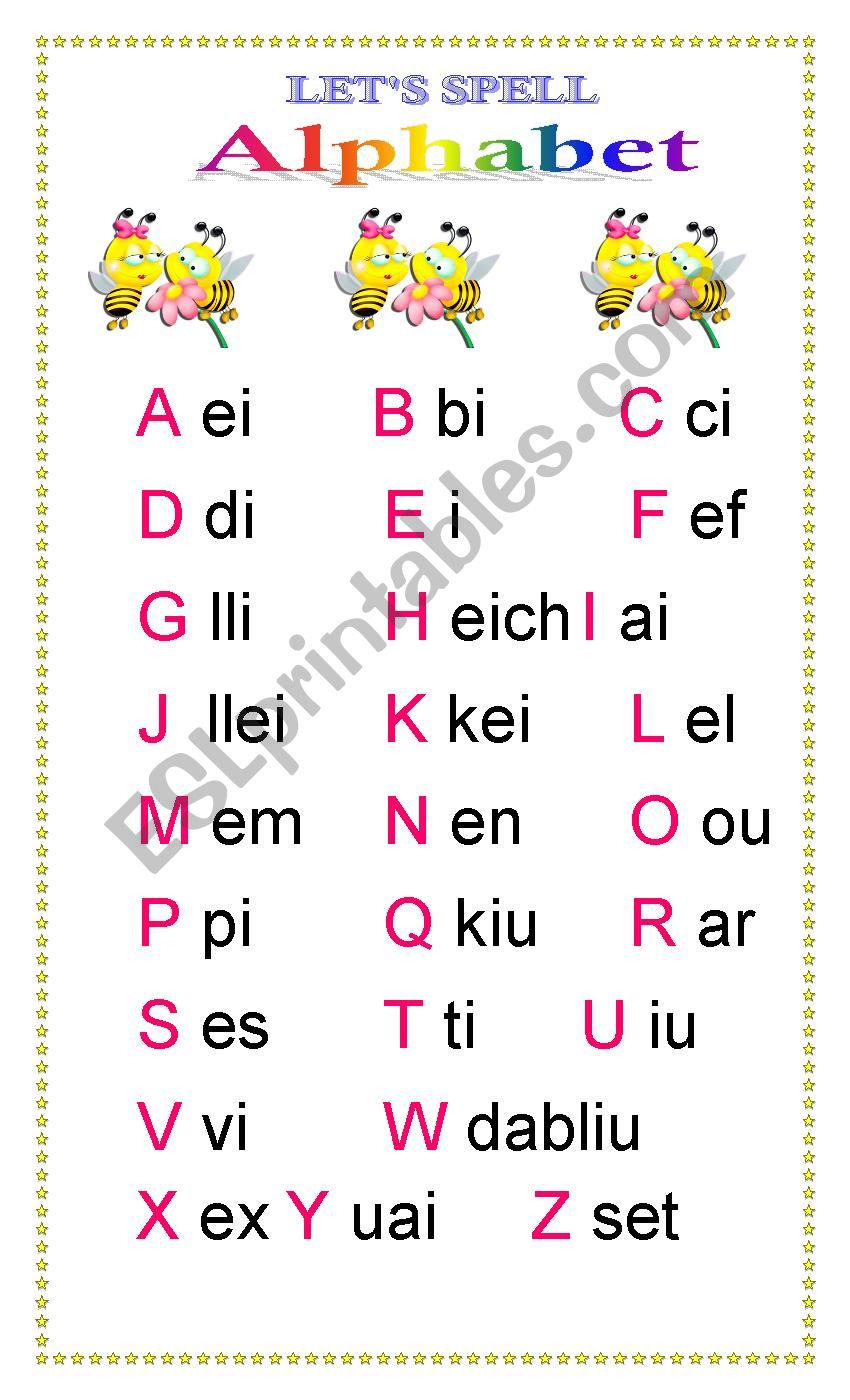 "Alphabet ""spelling Bee"" - Esl Worksheeteileen Rivera for Alphabet Spelling Worksheets"