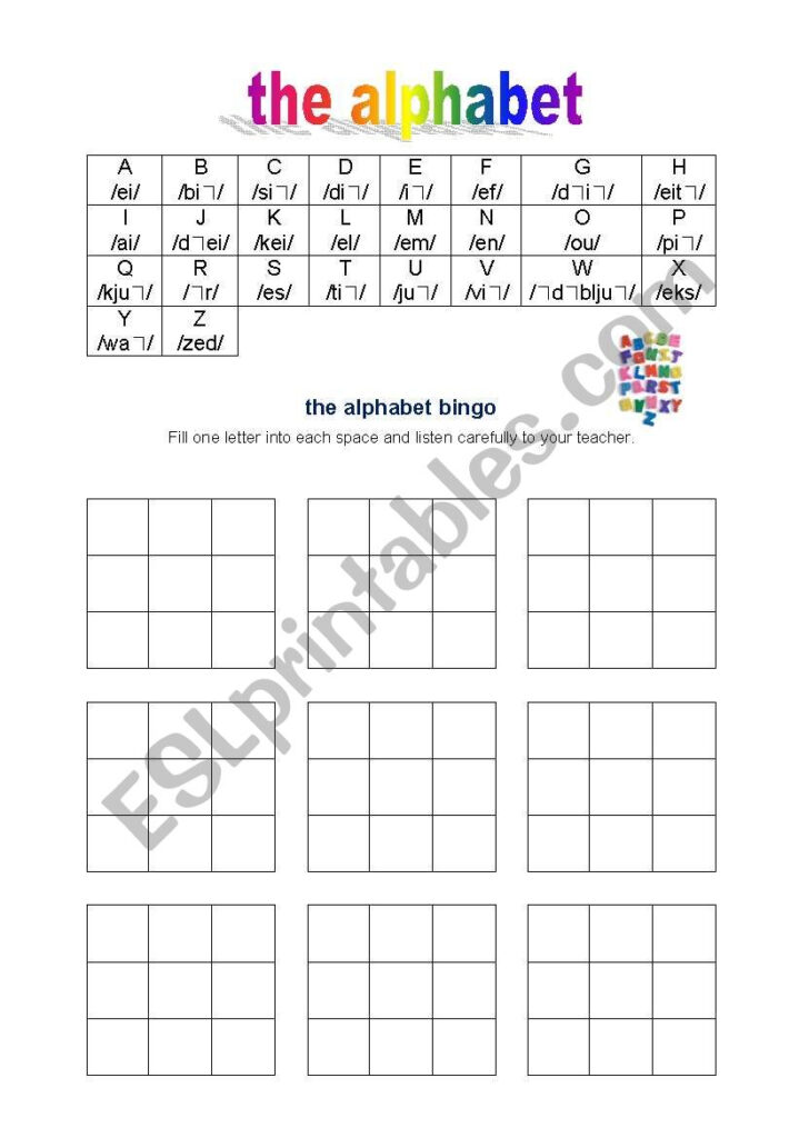 Alphabet, Spelling, Bingo   Esl Worksheetdietze Within Alphabet Spelling Worksheets