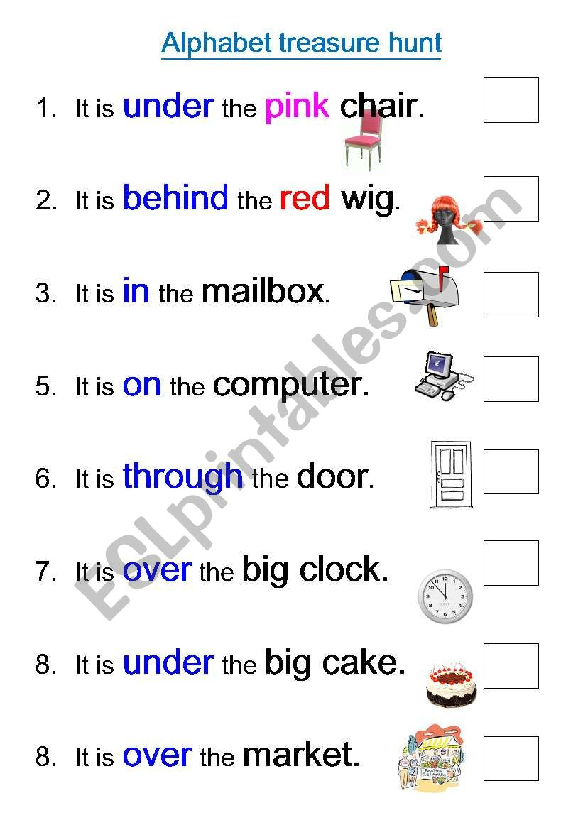 Alphabet Treasure Hunt - Esl Worksheetedlamy with Alphabet Hunt Worksheets