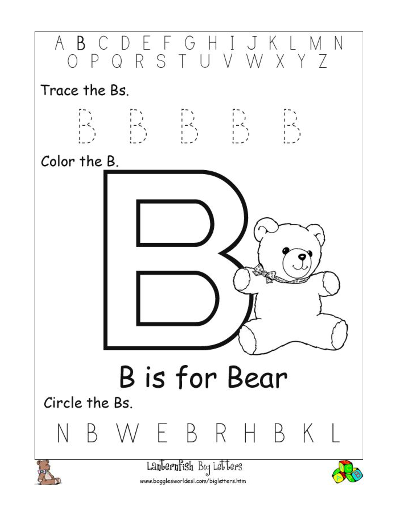 Alphabet Worksheet Big Letter B Doc | Preschool- Alphabet intended for Alphabet Worksheets Doc