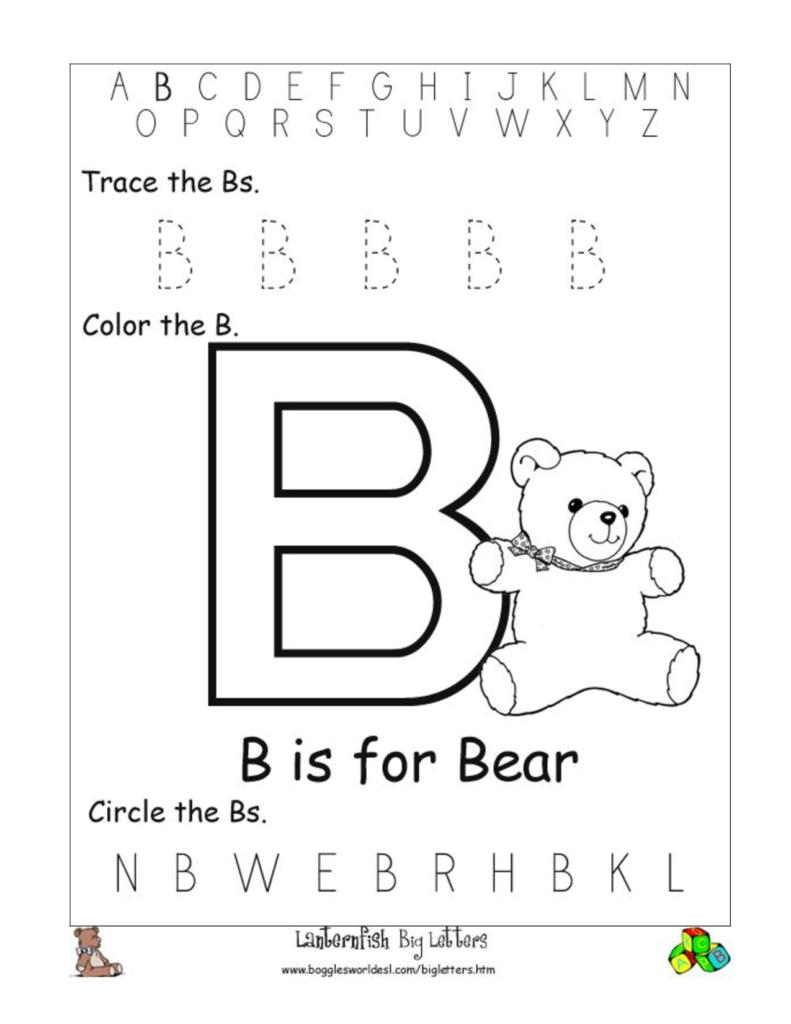 Alphabet Worksheet Big Letter B Doc | Preschool  Alphabet Regarding Alphabet Worksheets Letter B