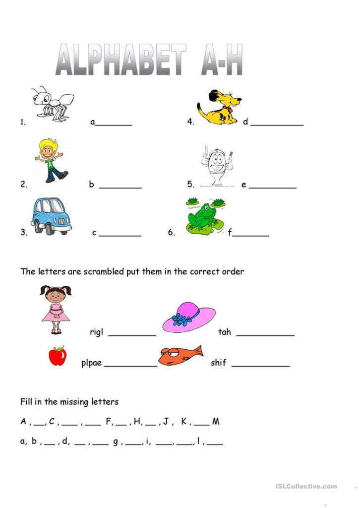 Alphabet Worksheet Practice A H   English Esl Worksheets Regarding Alphabet Activity Worksheets