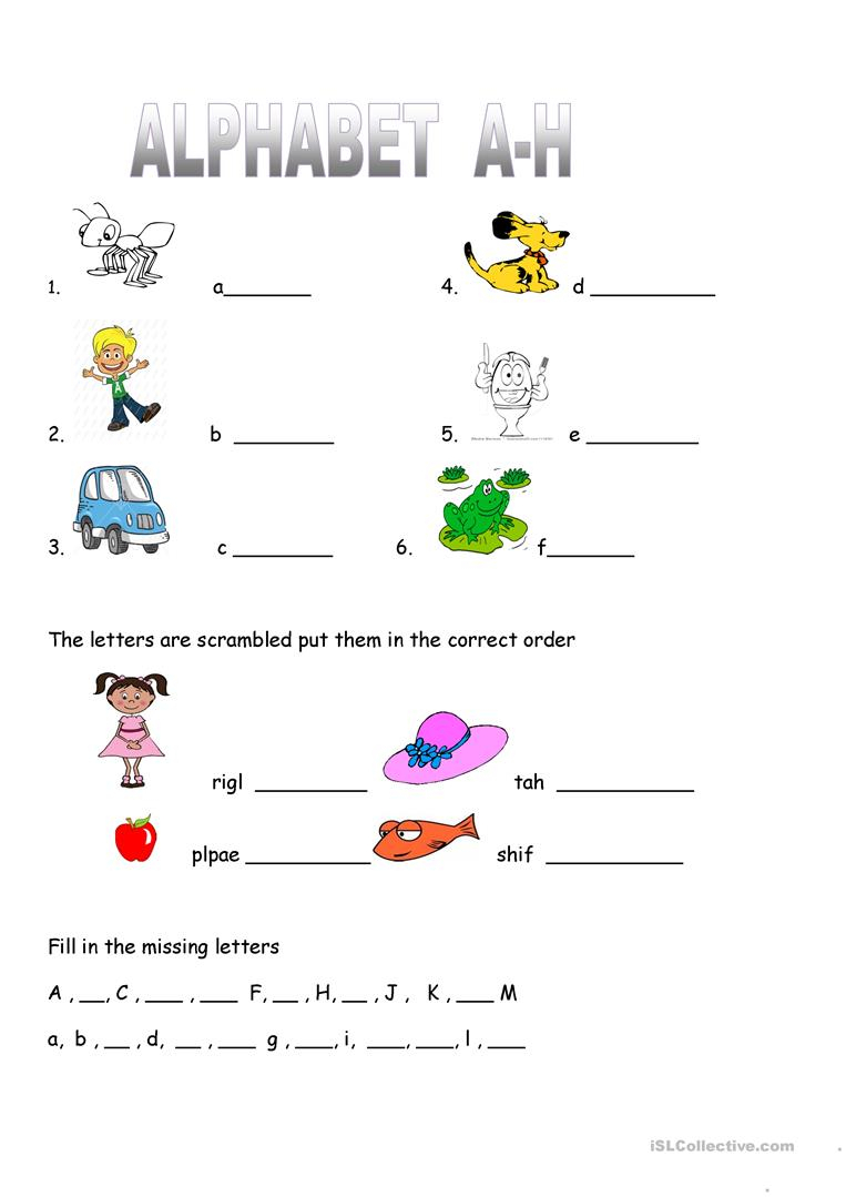 Alphabet Worksheet Practice A-H - English Esl Worksheets regarding Alphabet Activity Worksheets