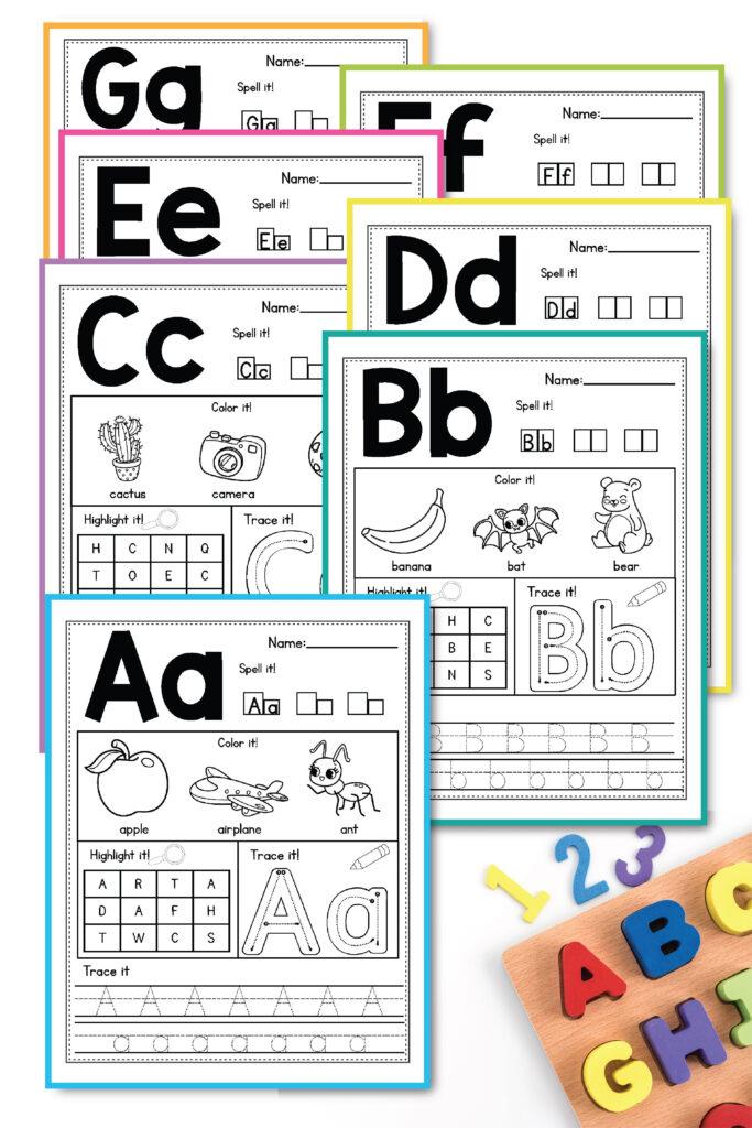 Alphabet Worksheets A Z Beginning Sounds Activities With Reading A Z Alphabet Worksheets