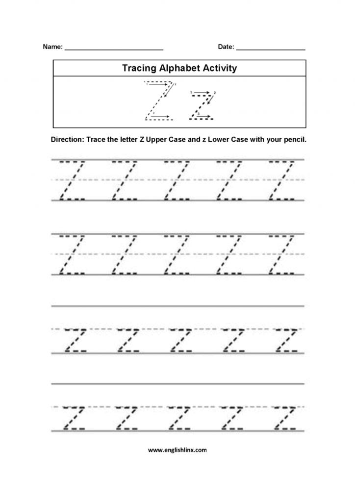 Alphabet Worksheets For Kindergarten To Z Pdf Kids Intended For Letter Z Worksheets Pdf