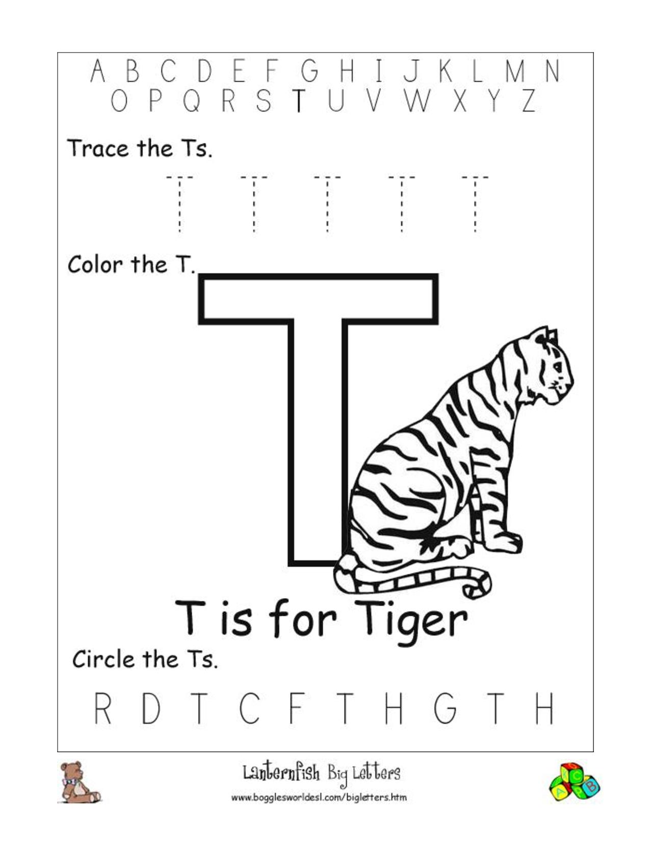 Alphabet Worksheets For Preschoolers | Alphabet Worksheet for Letter T Worksheets Prek