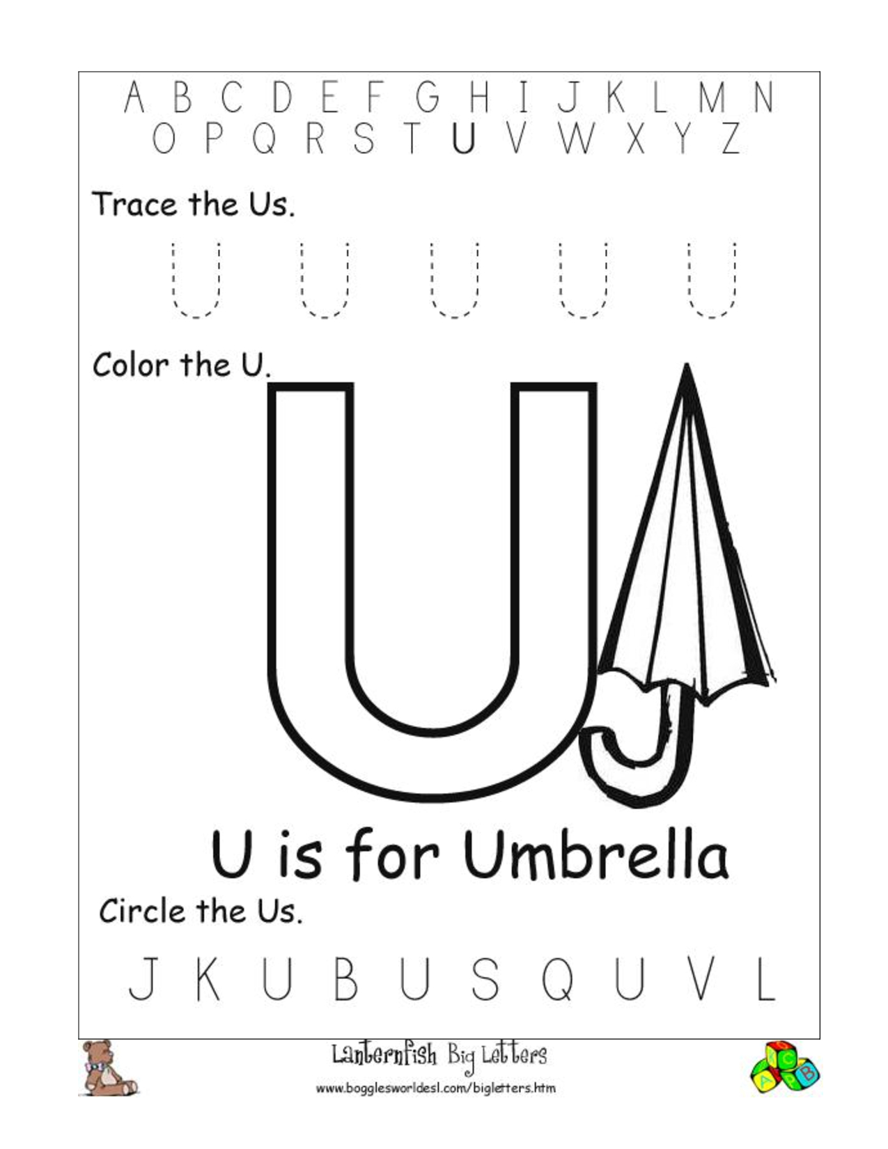 Alphabet Worksheets For Preschoolers | Alphabet Worksheet for Letter U Worksheets For Pre-K