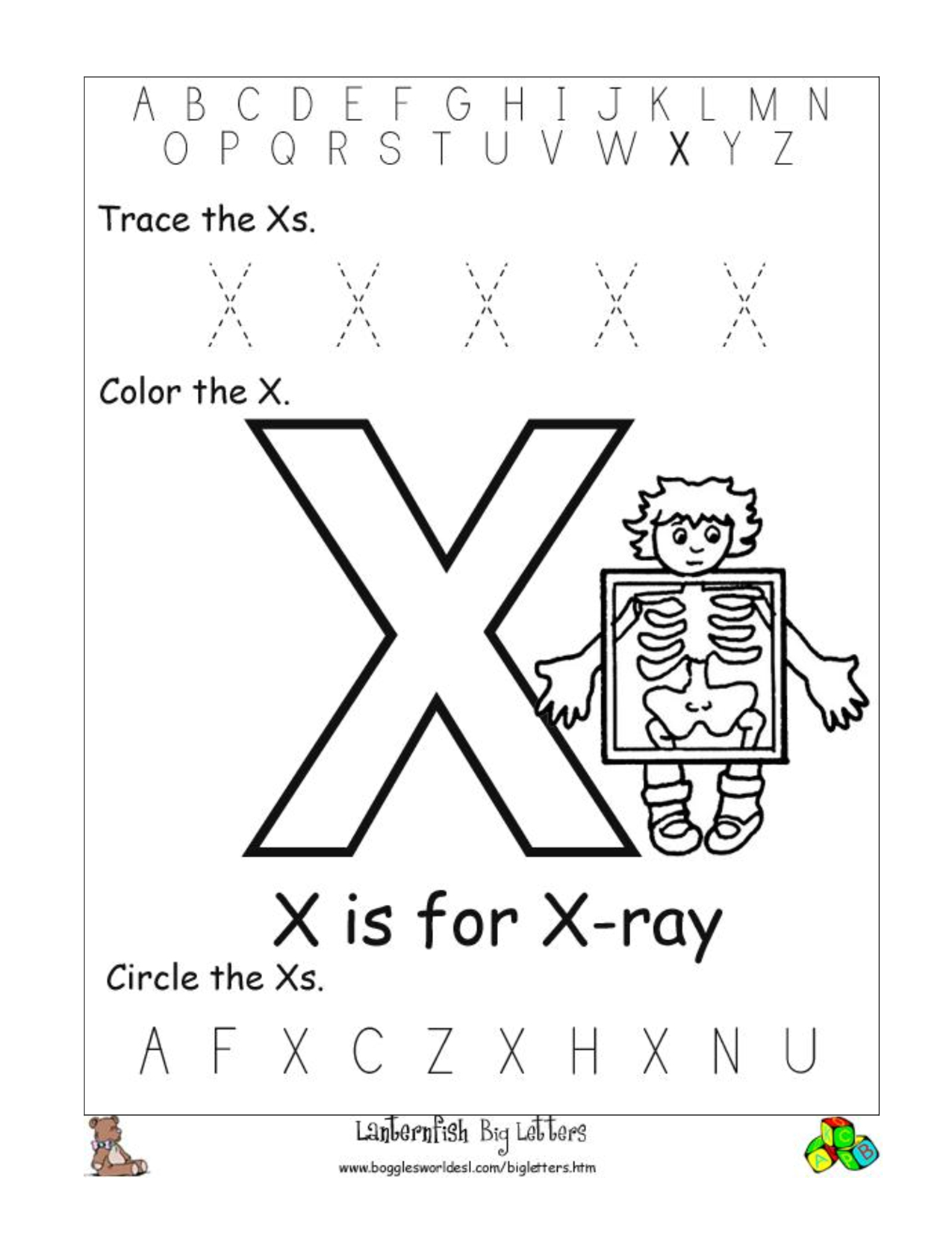 Alphabet Worksheets For Preschoolers |  Of The Alphabet in Letter X Worksheets For Prek