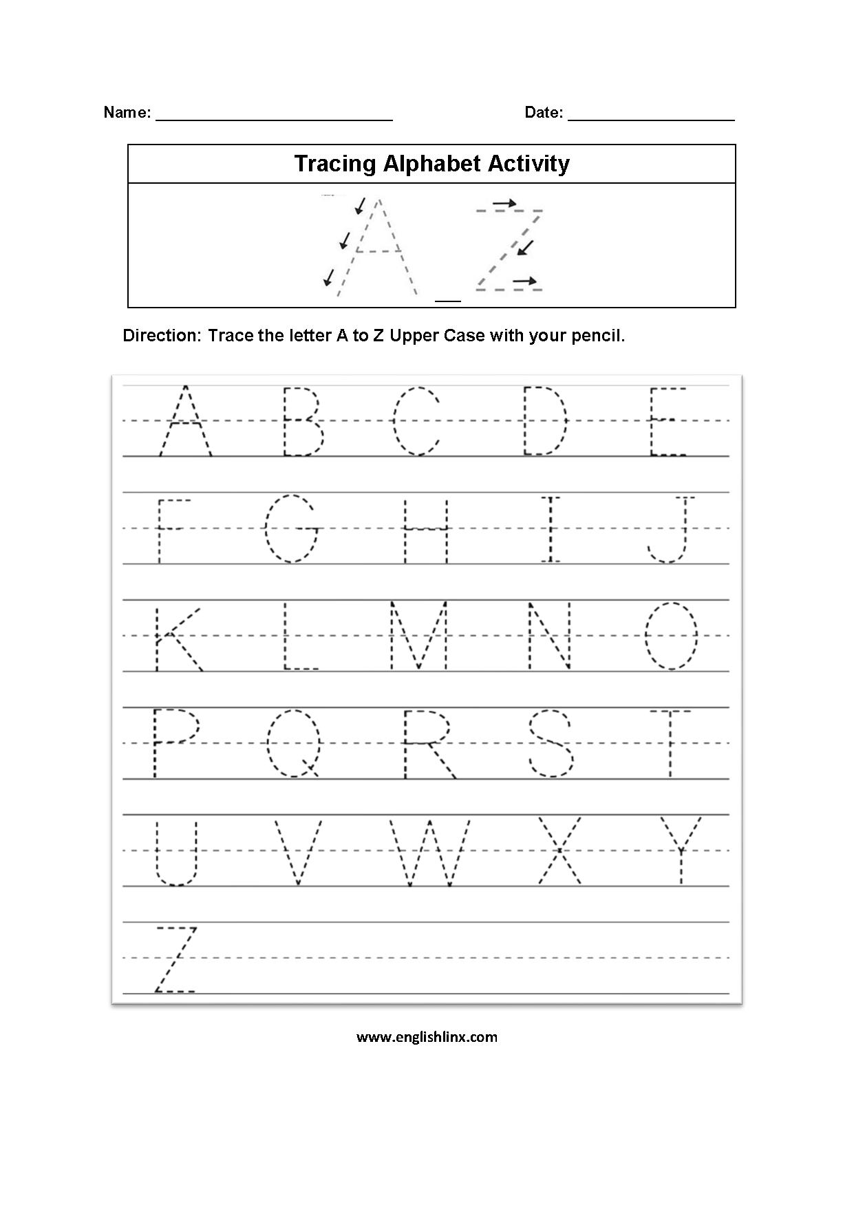 Alphabet Worksheets | Tracing Alphabet Worksheets in Alphabet Tracing Worksheets A-Z