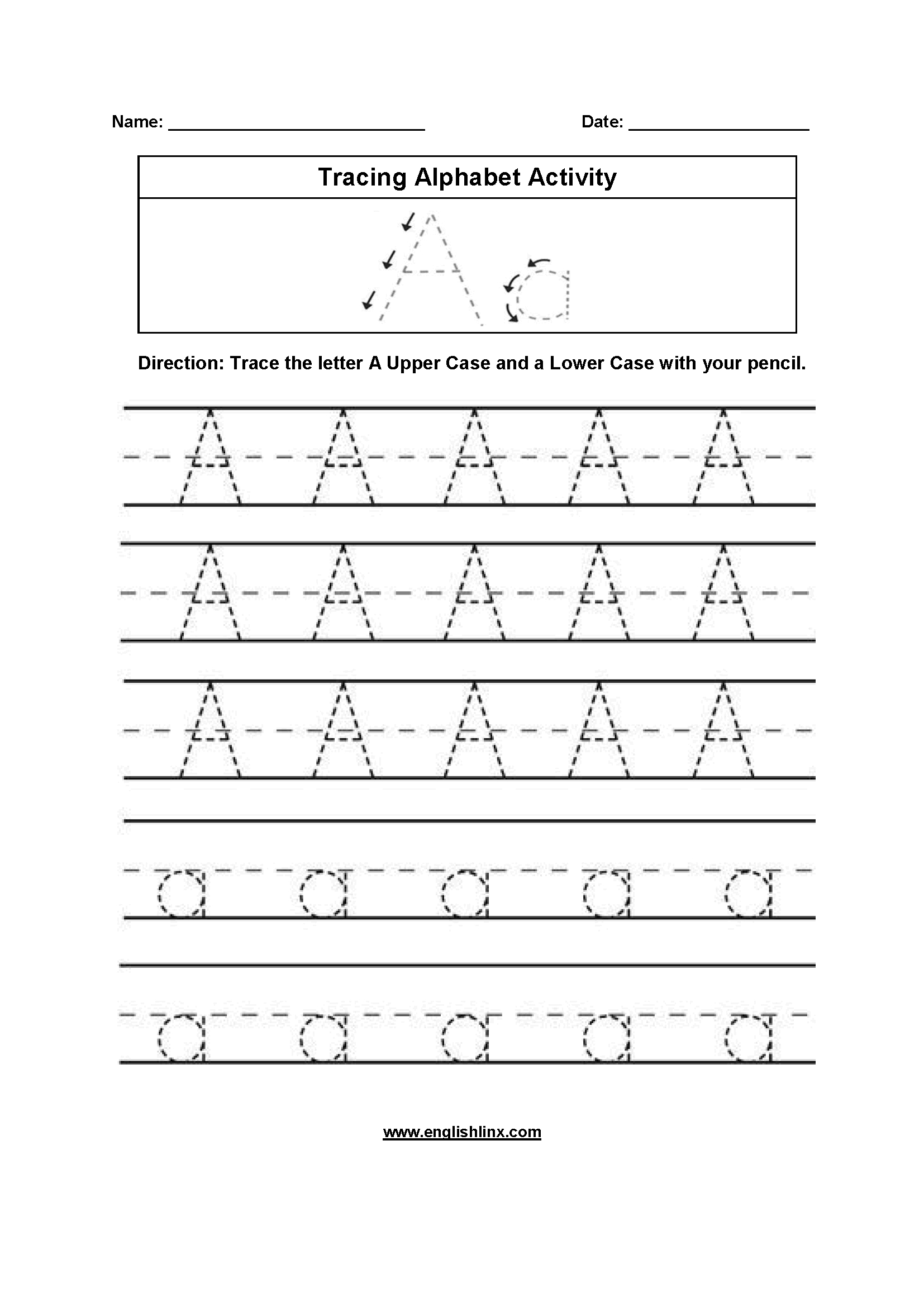 Alphabet Worksheets | Tracing Alphabet Worksheets in Alphabet Worksheets For 1St Grade